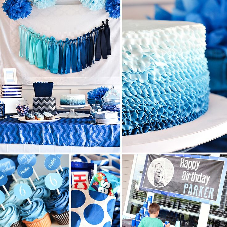 If you're favorite color is blue you might be in heaven This Blue Ombre Dessert Table {Boys Birthday Party} by House of Rose is a MUST see! #Blue #Ombre #DessertTable