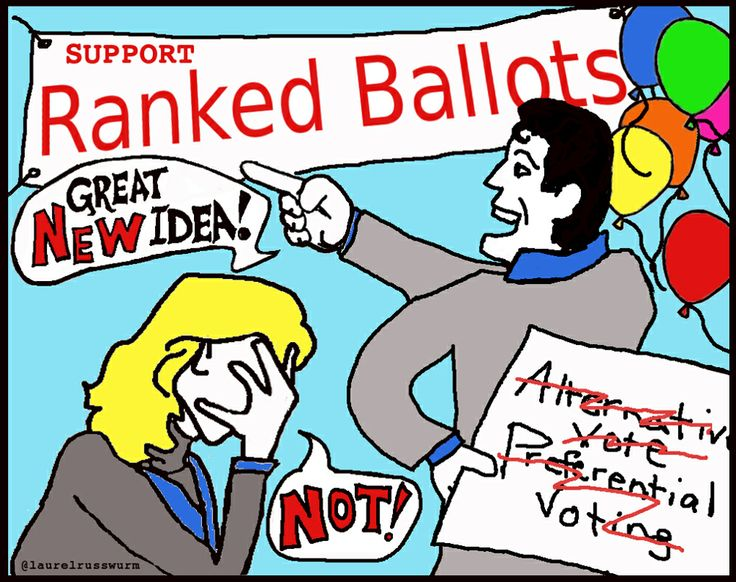 """Ranked ballots are an element of an electoral system. . . . Ranked ballots can be used in a Proportional Representation system like BC's Single Transferable Vote (STV) . . .  OR . . .  it can be used in a Winner-Take-All System like Alternative Vote. . .    AV is also known as """"Preferential Voting."""" AV is also known as """"Instant-runoff voting #IRV.   I tried my hand at a cartoon:"""