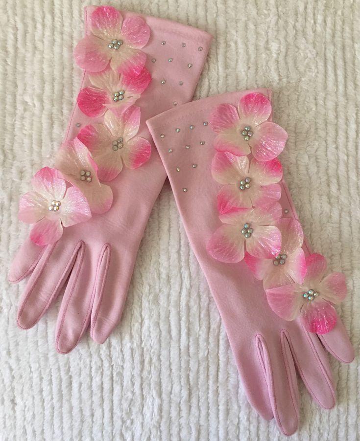 Perfectly Pink Custom Rhinestone Embellished Floral Gloves. On Etsy https://www.etsy.com/listing/583117590/custom-vintage-pink-floral-rhinestone