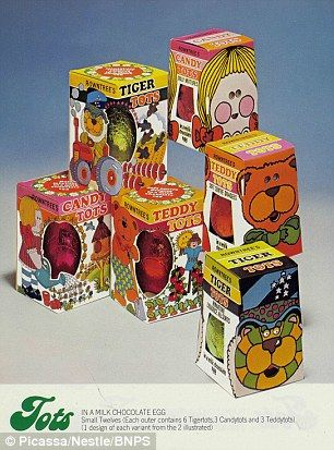 A collection of Tots Easter Eggs from 1977 show a fun and funky packaging...