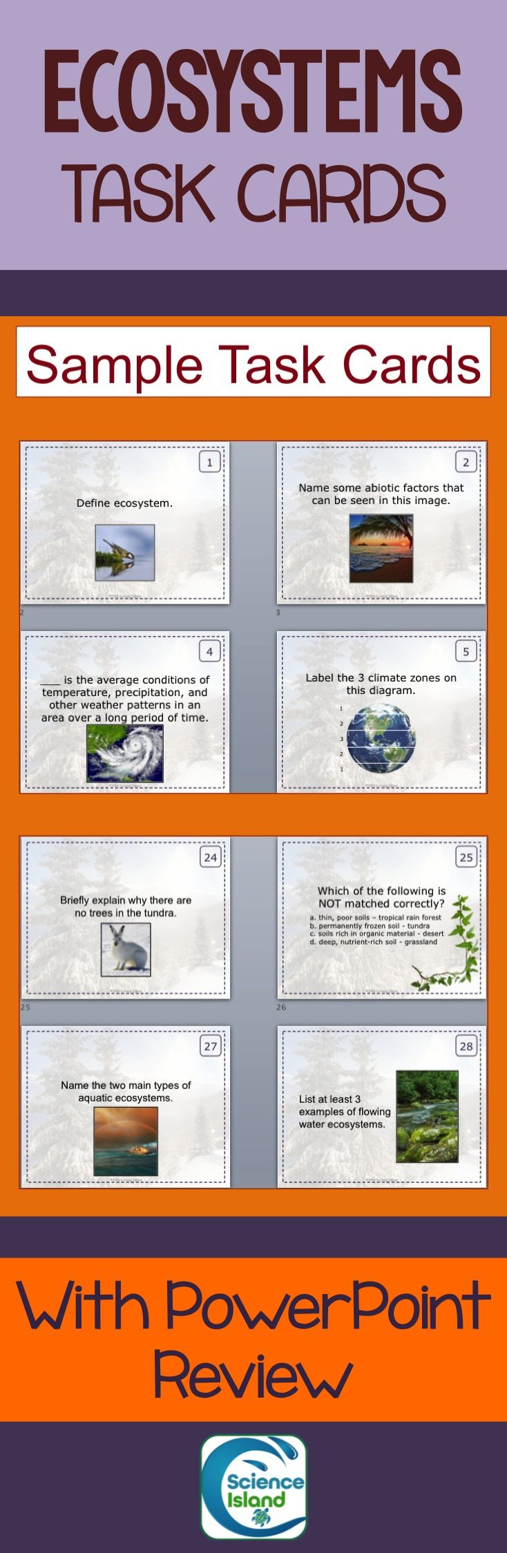 35 Task Cards cover terrestrial and aquatic biomes for high school Biology. Comes with  PowerPoint Review, student answer sheet, and teacher answer key.