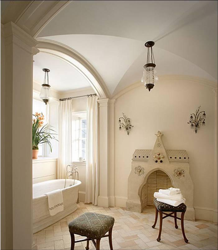 8 master bath stand alone porcelain tub barrel vaulted for Master bathroom vaulted ceiling