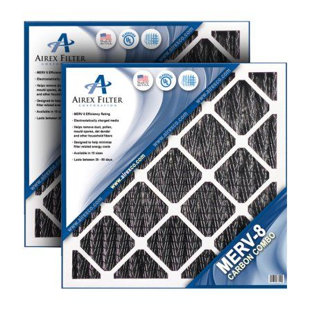 Airex 18x20x1 Carbon Merv 8 Pleated AC Furnace Air Filter, Box of 6 - (Actual Size: 17.5 X 19.5 X .75)