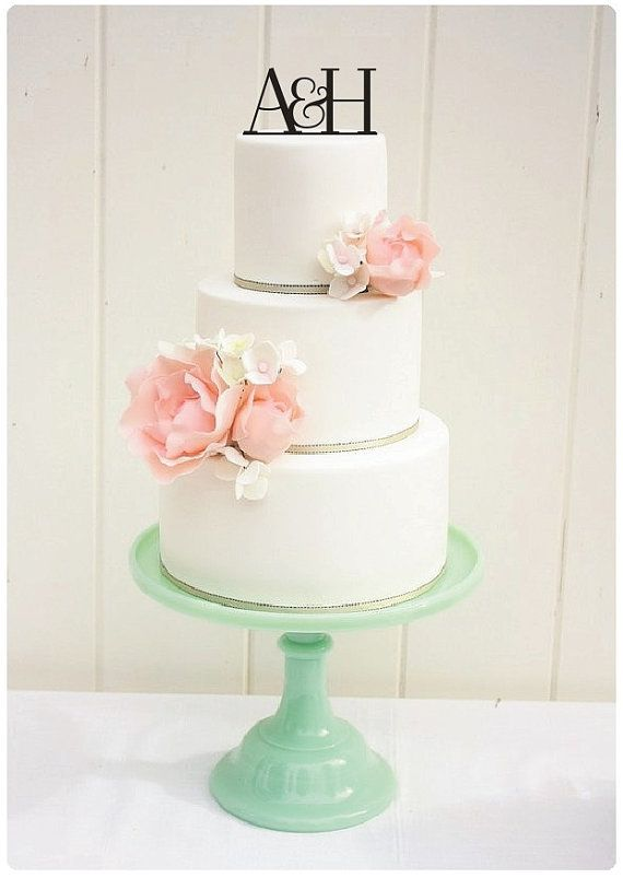 Personalized Wedding Cake Topper - Two Initials and Ampersand Monogram Topper
