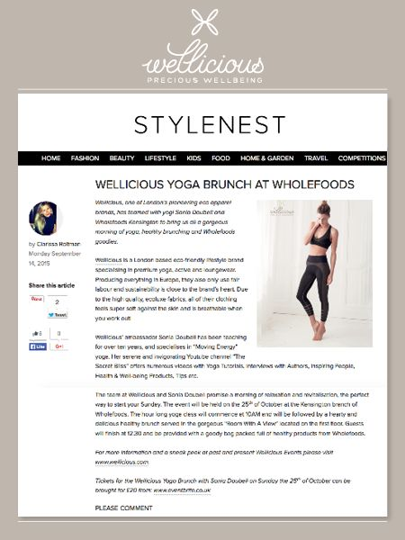 Stylenest UK have featured our exciting up & coming event with Whole Foods Market London and Wellicious! Join us on Sunday October 25th for a great refreshing yoga class followed by a delicious brunch - a perfect wake-up for your morning! ❤ Buy your tickets now: http://goo.gl/JvdfGn Read more here: http://goo.gl/lxQJOk
