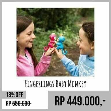 !! S A L E !! ! Fingerlings Baby Monkey ! @ Rp 240.000  Wa : 087738905593 -- stok terbatas --- Robot monyet teman bermain anak berukuran telapak tangan teman bermain disaat jenuh. Fingerlings bekerja dengan sensor sentuhan gerakan dan ketukan. Monyet lucu ini juga bisa mengeluarkan 40 - 50 efek suara dan animasi . Ada 3 pilihan warna : 1. Boris (biru) 2. Mia (ungu) 3. Zoe (mint)  Fingerlings Baby Monkey (Original) Brand : Wow Wee (Canada) Pet monkey yg mudah di pelihara  tidak perlu repot…
