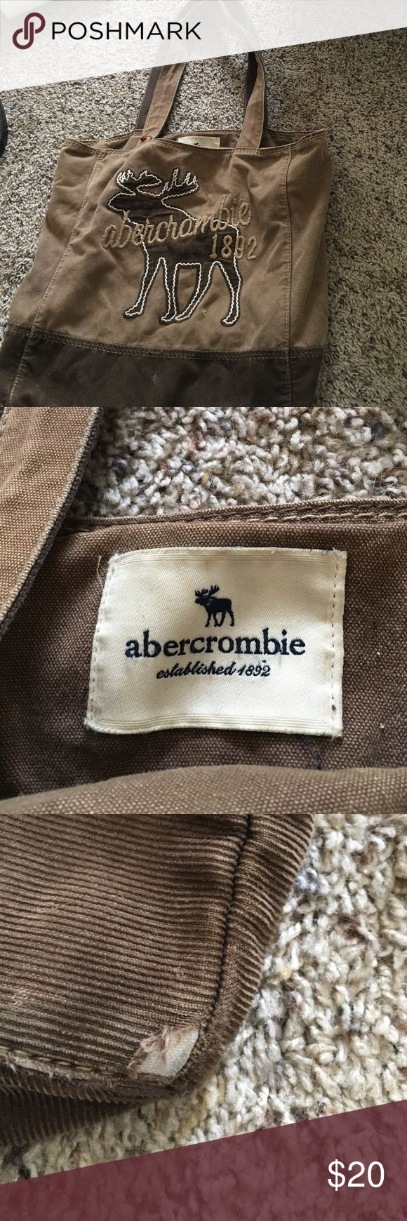 Abercrombie Bag Great condition and the perfect size.  Few tiny marks and threads that are barely noticeable. Tiny rips at the bottom at two of the corners (picture 3) Abercrombie & Fitch Bags Totes