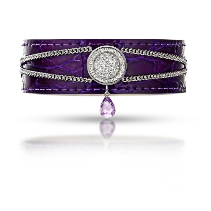 Bracelet with purple leather and Amethyst charm