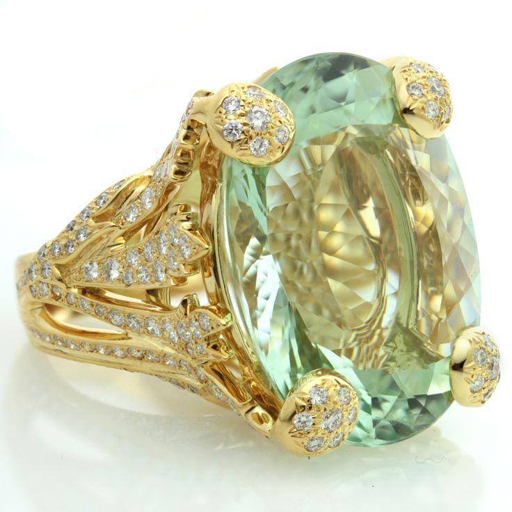 CHRISTIAN DIOR Aquamarine Diamond Large Green Ring image 5