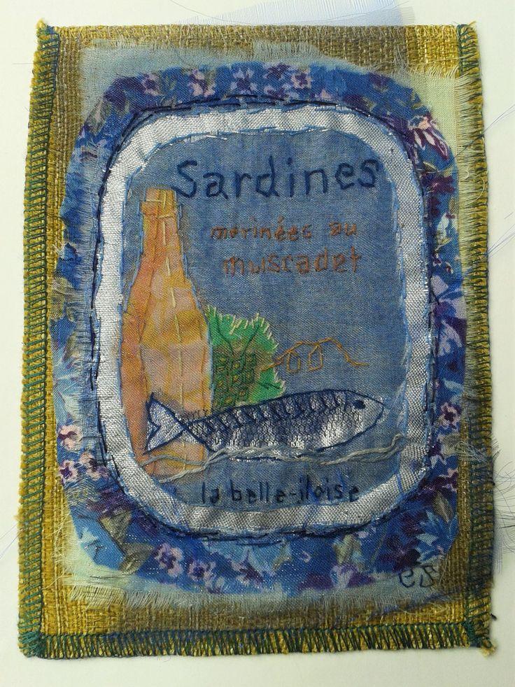la belle-iloise - katoen, organza en borduurwerk16x12 cm #textile #recycled textile#embroidery stitch #textile art