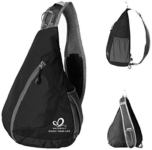 WATERFLY Packable Shoulder Backpack Sling Chest CrossBody Bag Cover Pack Rucksack for Bicycle Sport Hiking Travel Camping Bookbag Men Women *** You can find more details at