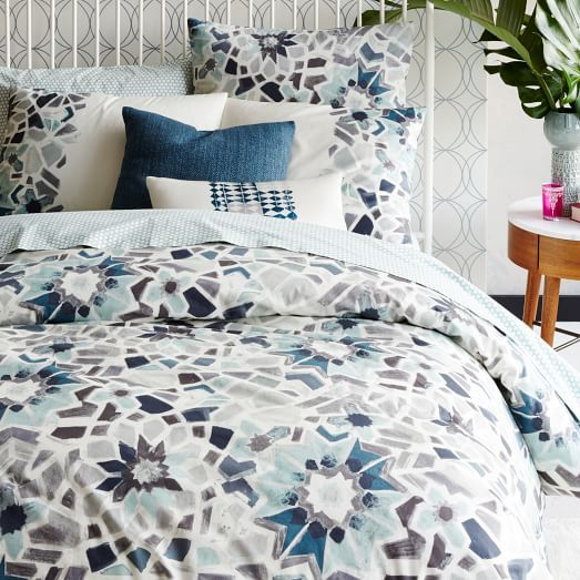 Organic Stained Glass Floral Duvet Cover, Full/Queen, Pale Harbor  SHEET COLORS: light and dark blues, light and dark greys, yellows, greens, and white
