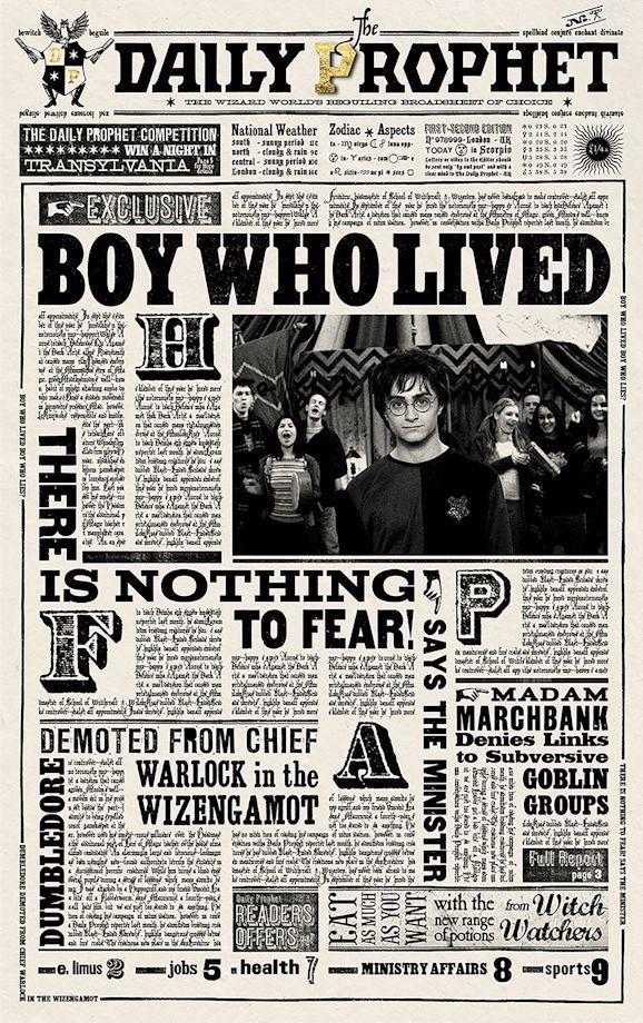 """B2G1F Collector/'s Poster Print Harry Potter- The Daily Prophet 11/"""" x 17/"""""""