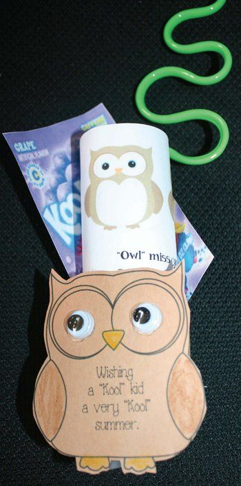 """""""Wishing a """"kool"""" kid a very kool summer. """"Owl"""" miss you.  Quick, easy and inexpensive end of the year gifts to make students. Includes 4 bookmarks, self-esteem building note, & writing prompt. There's a half toilet paper tube stapled to the owl so you can insert goodies. FREE templates."""