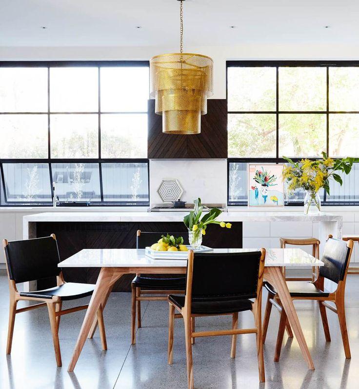 Flat Leather Dining Chair - Teak & Black