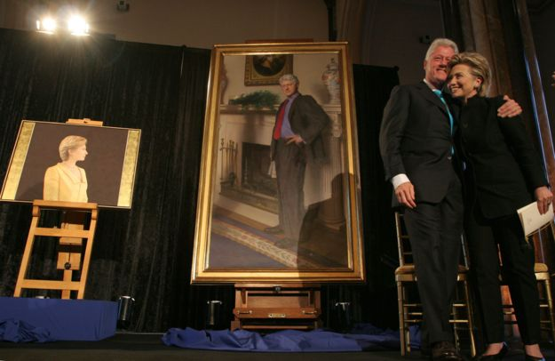 The artist behind former President Bill Clinton's official portrait says he included a reference to Monica Lewinsky in the painting. | Painter Says He Included Monica Lewinsky's Dress In Bill Clinton's Official Portrait