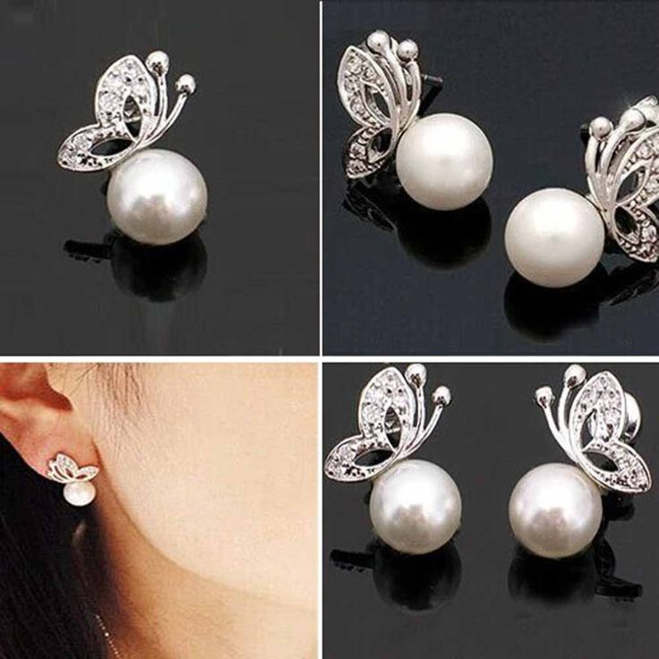 Butterfly Pearl Rhinestone Earrings // Price: $8.95 & FREE Shipping //  We accept PayPal and Credit Cards.    #necklace #pendant #necklaces #pendants #jewelry #jewelrygram #instajewelry #fashionjewelry #gemstone #jewelrydesign #jewelryaddict #jewelrydesigner #jewelrylover #jewelryforsale #jewelryoftheday #jewelrymaking #q80 #jewels #gems #jewel #gem #q8statigram #stones #jotd #bling #handmadejewelry #gemstones #earrings