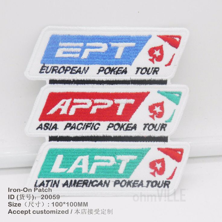 Patches European / Latin American Poker Tour / Asian Pacific Poker Tour Embroidered Iron On Patch 20059 #Affiliate