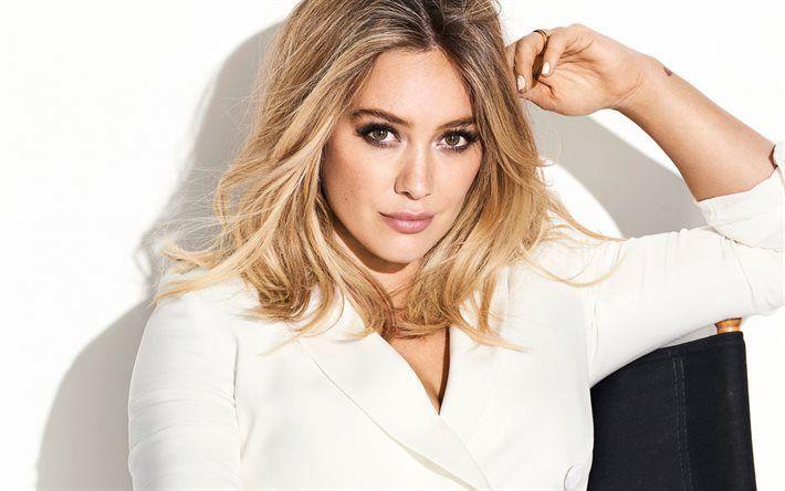 Télécharger fonds d'écran Hilary Duff, Portrait, actrice Américaine, maquillage pour les blondes, veste blanche