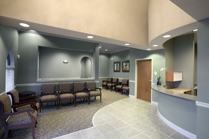 Bowed front reception desk in doctors office