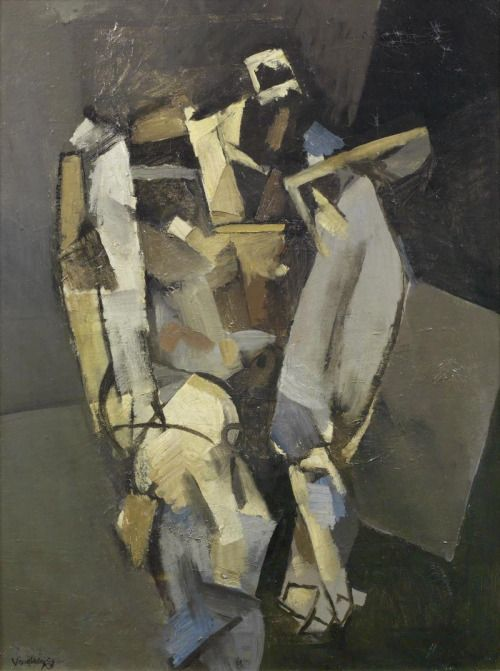 Keith Vaughan (British, 1912-1977), Seated Figure (Pylos), 1951. Oil on canvas, 76.2 x 55.8 cm.