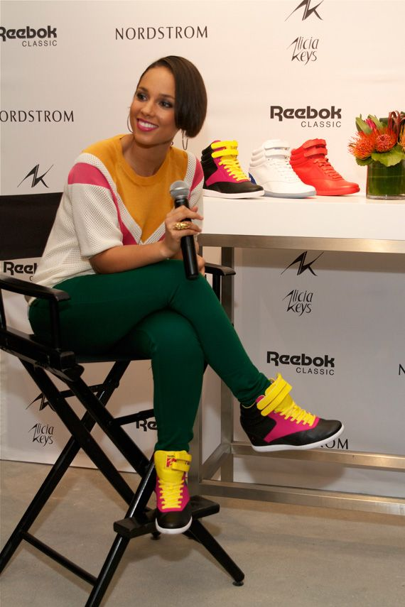 (I like this style on her, not for me) It seems like wedge sneakers aren't going away anytime soon, Reebok Classic and Alicia Keys celebrated the launch of their new collection of Freestyle Hi Wedge A.Keys sneakers as part of their ongoing collaboration on Thursday. The Freestyle Hi Wedge A.Keys is an updated style of the Reebok Classic silhouette – the Freestyle sneaker featuring a hidden wedge (approx 2 1/4 heel height).