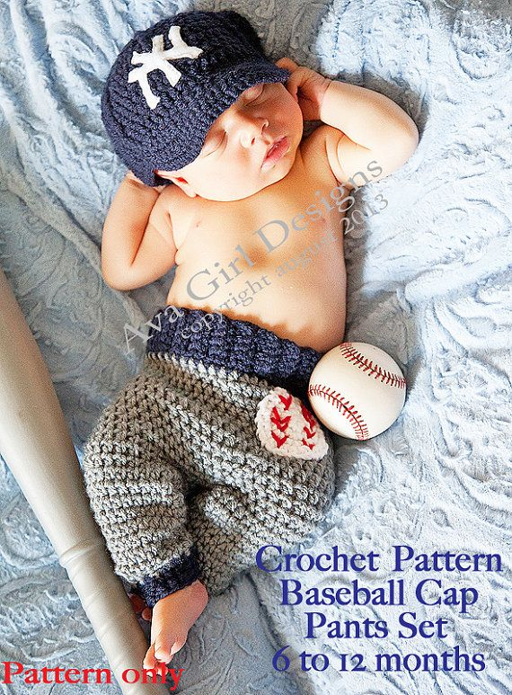 Baby baseball cap pants crochet pattern 6 to 12 by AvaGirlDesigns