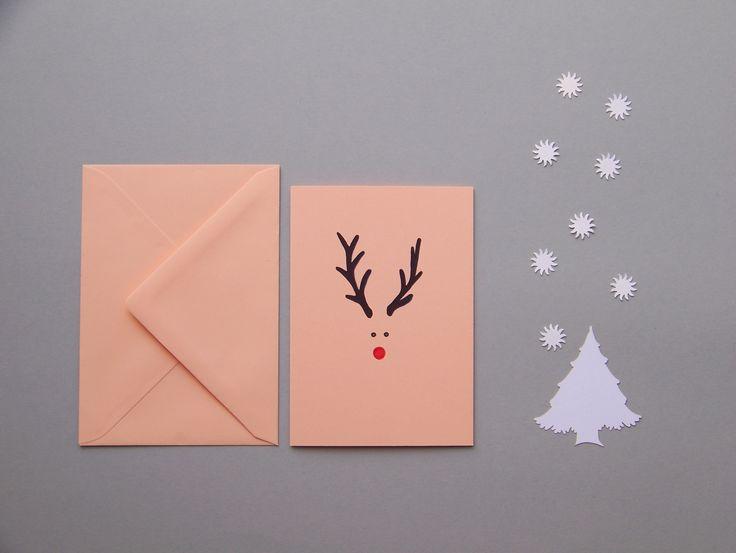 HANDMADE CARD by Lady Lu - Christmas * #vanoce #prani #papir #rucniprace #kresba #tvoreni #ladylu #littleart #christmas #card #jelen #parohy #strom #tree #animal #zvire