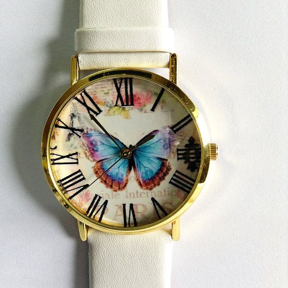 Vintage Butterfly Watch , Vintage Style Leather Watch, Women Watches, Boyfriend Watch, Black, Tan, White