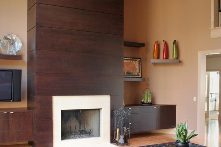 Sleek Contemporary Fireplace Design In Dark Wood And