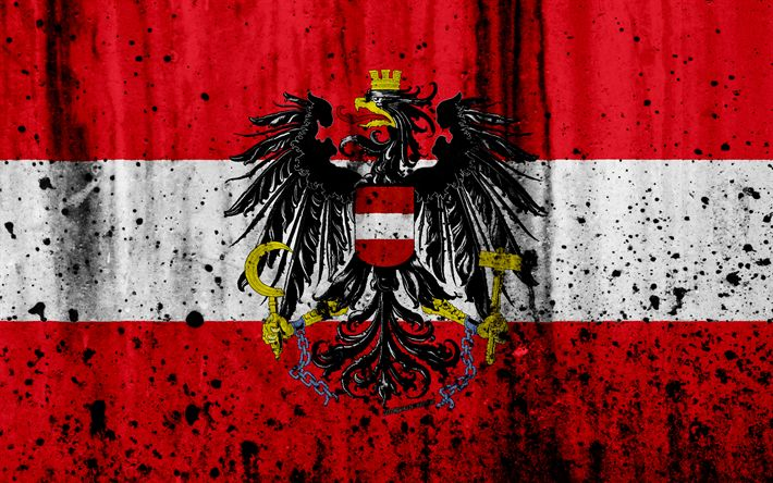 Download wallpapers Austrian flag, 4k, grunge, flag of Austria, Europe, national symbols, Austria, coat of arms of Austria, Austrian National Emblem