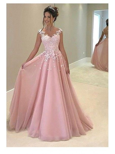 A-Line Long Pink Lace Prom Dresses Party Evening Gowns 99602248 ...