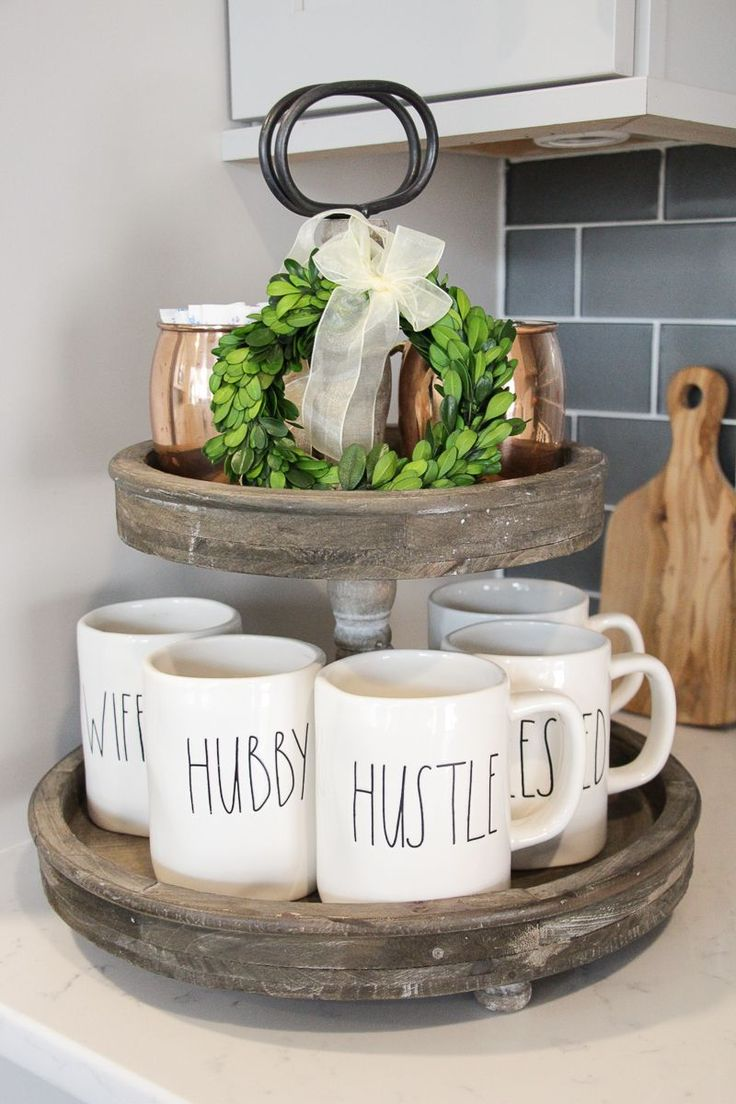 Two Tier Wood Tray | Wood Tiered Tray | Farmhouse Kitchen Decor | Mini Boxwood Wreath | Rae Dunn Mugs | Rae Dunn Collection | Rae Dunn Display