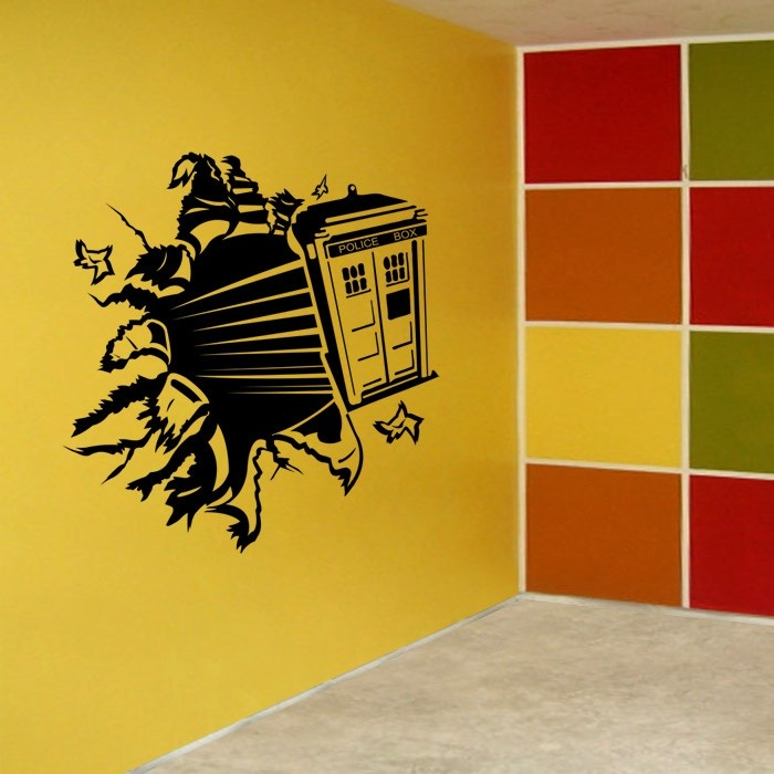 vinyl wall decal art sticker dr who tardis through wall large size