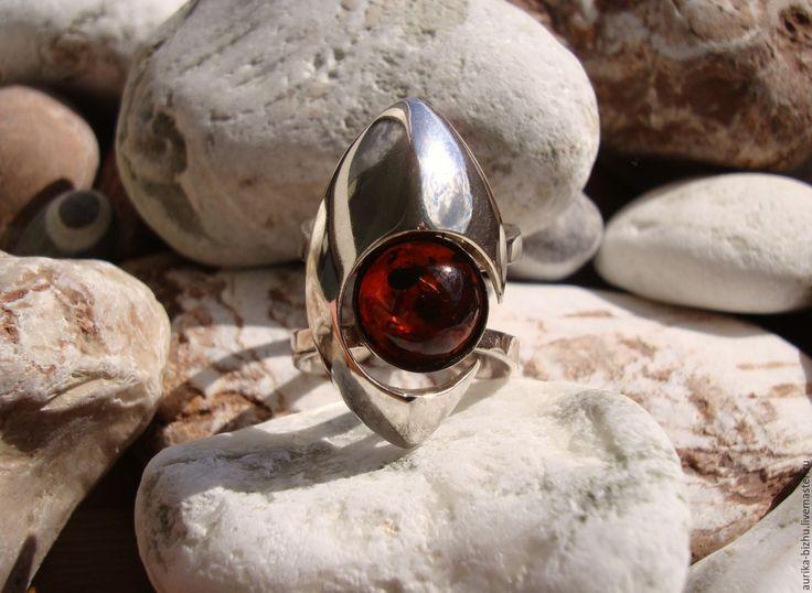 """Кольцо """"Галактика AMBER"""" - кольцо с камнем, кольцо из серебра 925, кольцо с янтарем"""