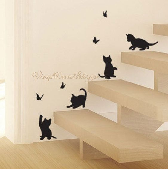 Kittens chasing Butterflies Decal, Cute Wall Decal, Staircase Decal, Kitten Deca…