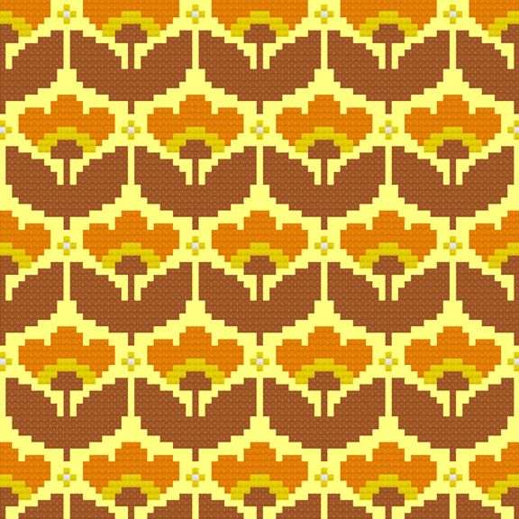 Mellow Yellow Wallpaper Cross-Stitch Pattern