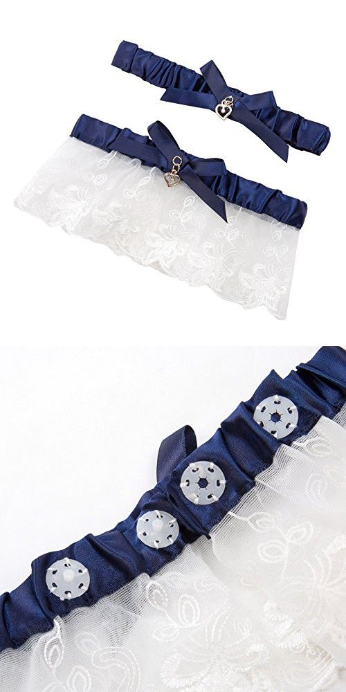Grace Fashion Collections Lace Wedding Garters For Bride Stretch Prom Garter With Toss Away Navy Blue
