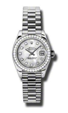 GORGEOUS but Sooooooo expensive! Rolex Watches - Datejust Lady - Platinum President Diamond Bezel - President Bracelet - Style No: 179136 mdp