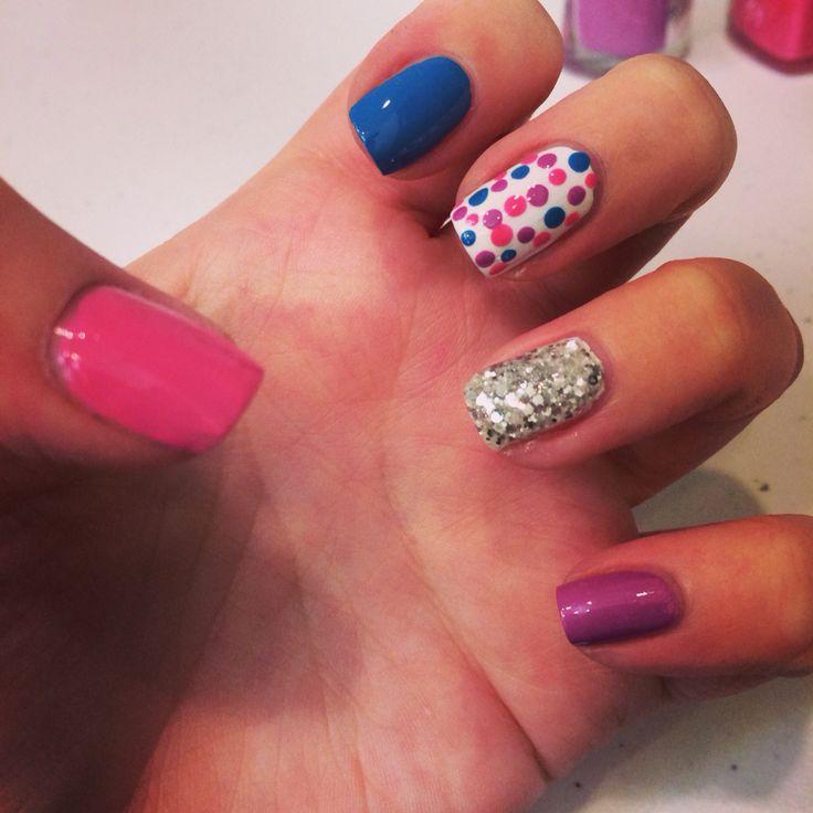 Fun spring nails with polka dots