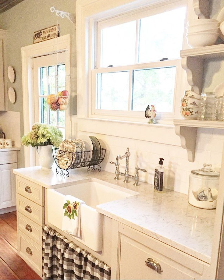 "314 Likes, 75 Comments - Jenny~Beaver Creek Farmhouse (@farmhouseluv) on Instagram: ""Switched up my sink skirt for fall! #farmhouse #fallfarmhouse #farmhousekitchen #farmhousestyle…"""