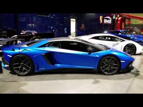 Beautiful Blue Lamborghini Aventador Show Car (4K UHD) - 2017 Long Beach Grand Prix, CA - YouTube