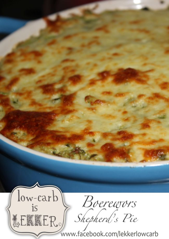 Layers of LCHF goodness, lined with a boerewors base and topped with cheese...