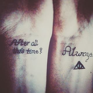 And also this heartbreaking Harry Potter homage. | 23 Geeky Couple Tattoos That Are Beyond Perfect