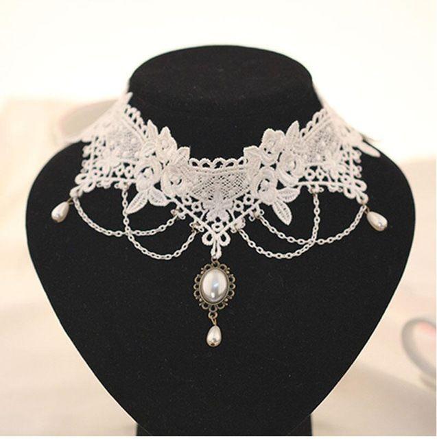 Imitation Perle Blanc Noir Dentelle Choker Colliers Bijoux De Mariée Femmes tatouage De Mariage Gland Punk Style Dentelle Pendentif