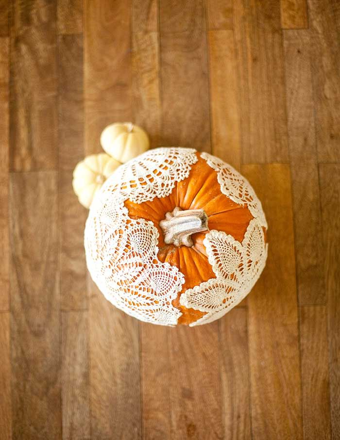 DIY Doily Adorned Pumpkins