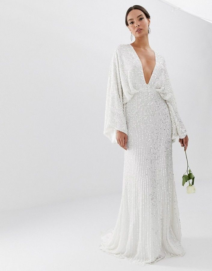 Asos Edition Ciara Sequin Kimono Sleeve Wedding Dress Wedding Dress Sequin Asos Wedding Dress Sequin Kimono