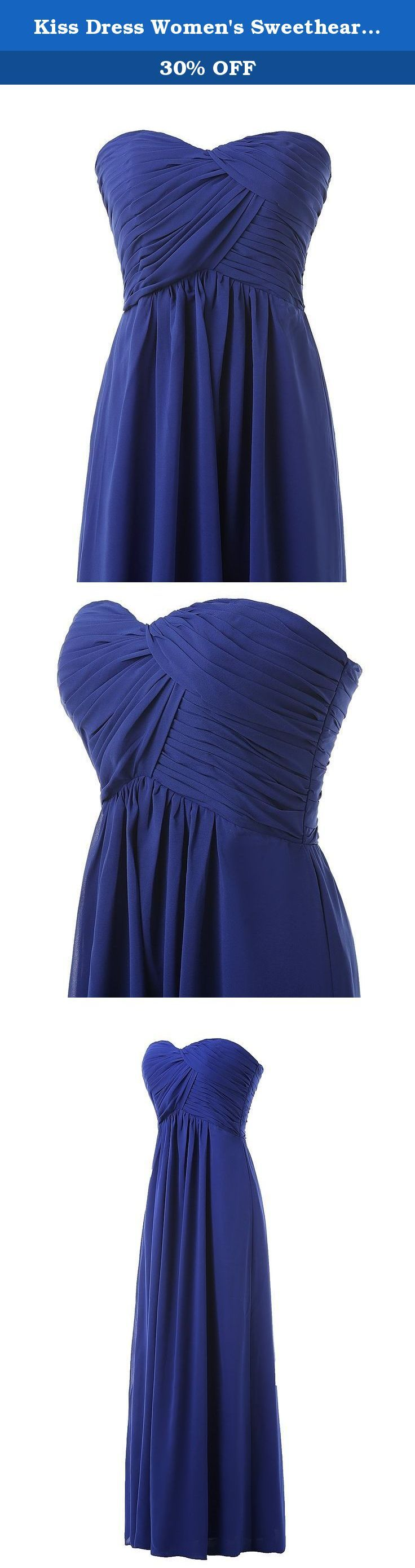Kiss Dress Women's Sweetheart Chiffon Long Bridesmaid Dresses L Royal Blue. Waistline :Empire Sleeve style :Sleeveless Dress lenth :Floor Length Neckline :Sweetheart Decoration :Ruffles Sihouette :A line Best choice for wedding bridal bridesmaid prom evening cocktail Note :As different computers display colors differently, the color of the actual item may vary slightly from the images,thanks for your understanding.