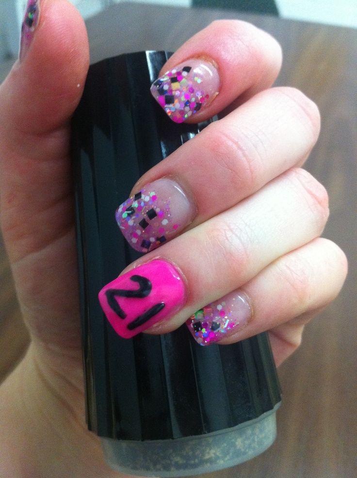 21st birthday nails ideas