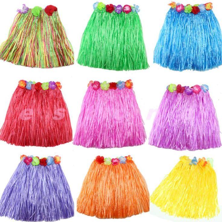 New Hot 1pc Kinds Hawaiian Hula Grass Skirt Flower Party Dress Beach Dance Costume 2-5Y